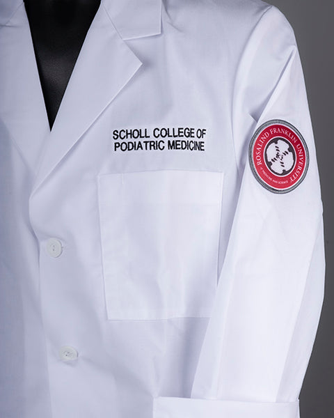 WHITE COAT, SCP, EMBROIDERED CONSULTATION COAT W/PATCH, SCHOLL COLLEGE OF PODIATRIC MEDICINE