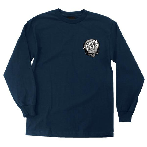 Obrien Skull Regular L/S Tee Navy (size options listed)