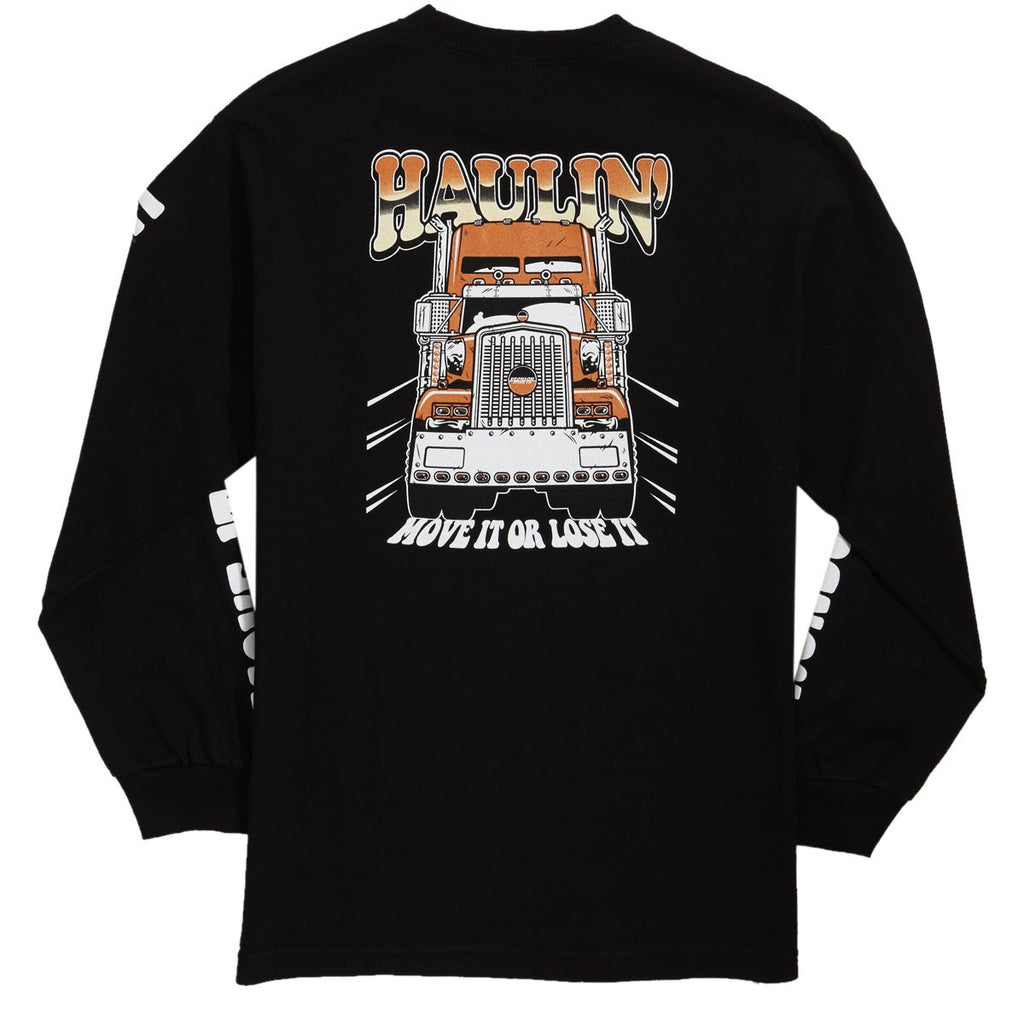 Haulin L/S Tee Shirt Blk (size options listed)