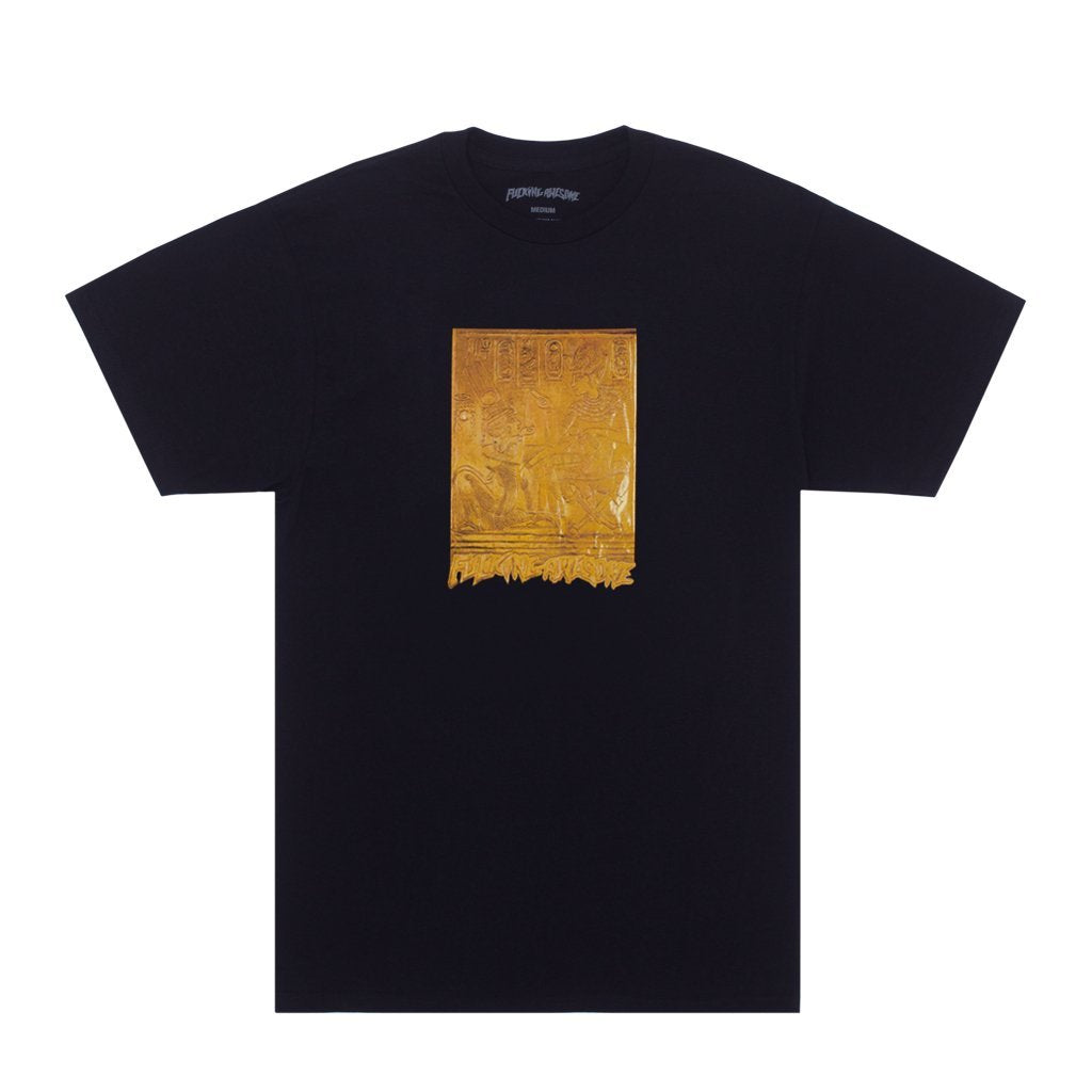 Gold Hieroglyphic S/S Tee Shirt Blk (size options listed)