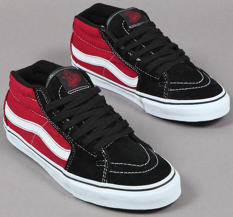 Skate Grosso Mid Shoe Blk/Red (size options listed)