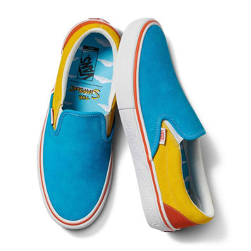 The Simpsons X Vans Slip On Pro Shoe Blu/Ylw (size options listed)