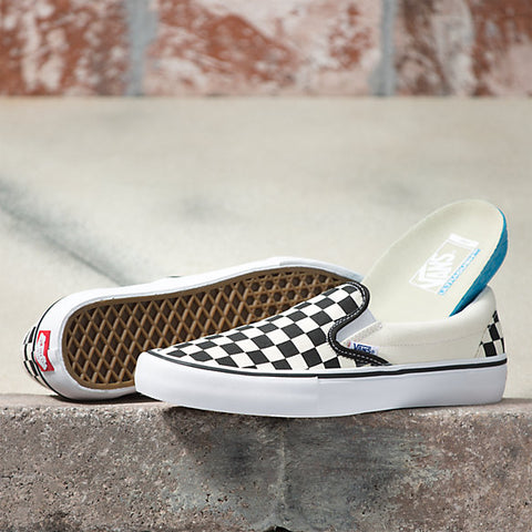 Checkerboard Slip On Pro Shoes Blk/Wht (size options listed)