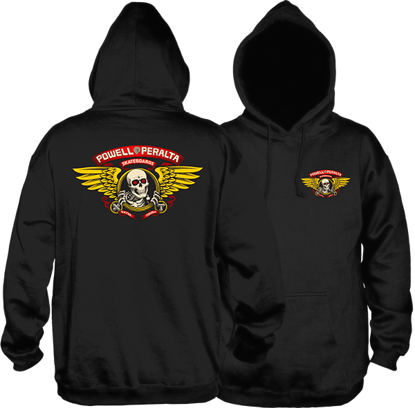 Winged Ripper Mid Weight Pullover Hoodie Blk (size options listed)
