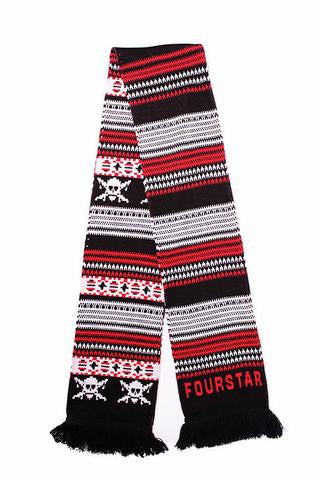 Fair Isle Scarf OS Navy/Red
