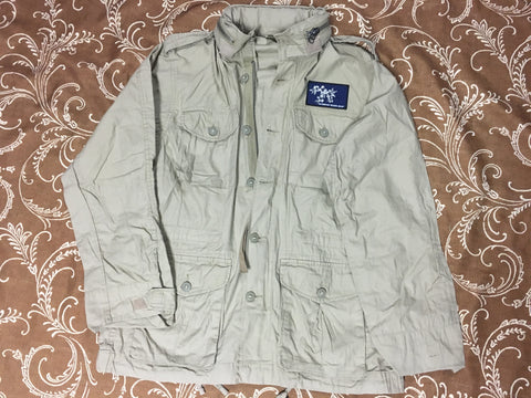 Flowers Patch Light Weight Field Jacket Khaki (size options listed)
