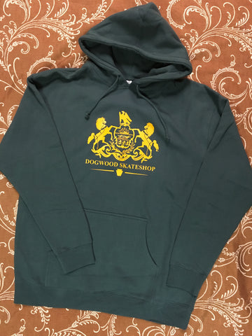 Horses Pullover Hoodie Dk. Green (size options listed)