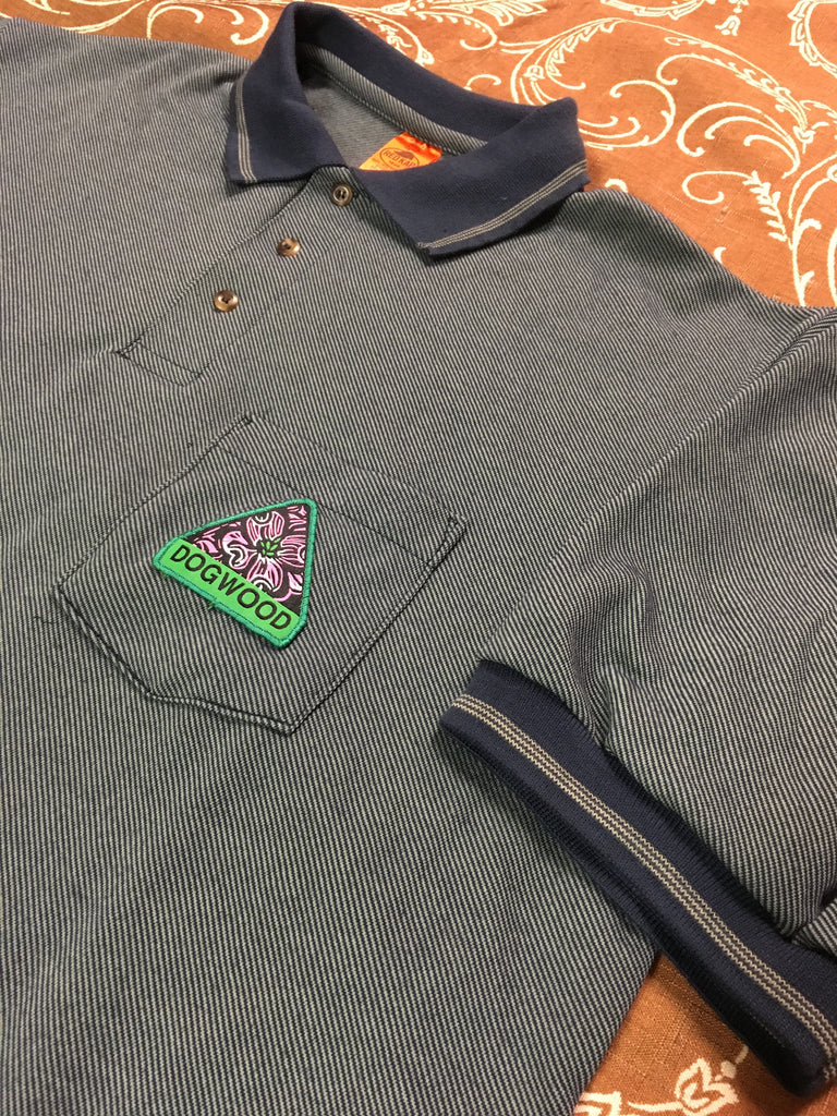 Flowers S/S Polo Shirt Nvy/Grn (size options listed)