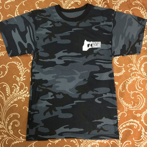 Mad Dog Local S/S Tee Shirt Midnight Blu Camo/Wht Print (size options listed)