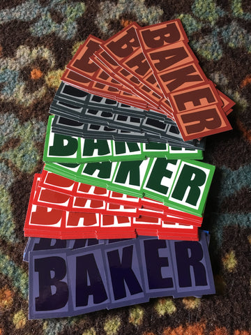 Baker Brand Logo Sticker Approx. 1.75in X 5in (color options listed)