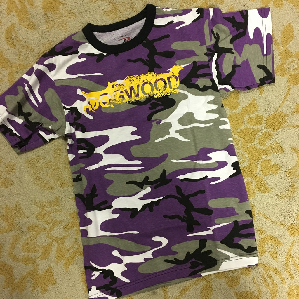 Mad Dog Purple Camo/Yellow S/S Shirt (size options listed)