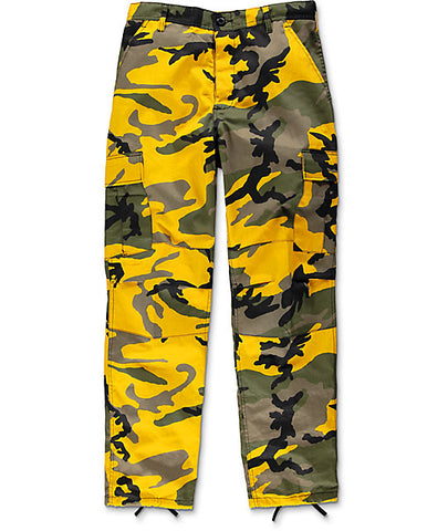 Flowers BDU Stinger Yellow Camo Cargo Pants (size options listed)