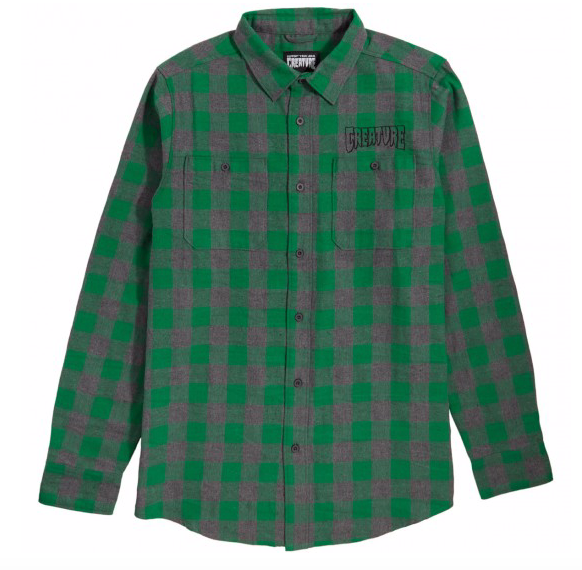 Outline L/S Flannel Top L/S Shirt Char/Grn (size options listed)