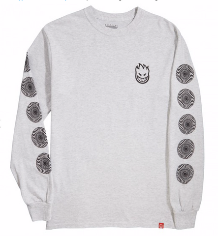 Stock Bighead Swirl L/S Tee Shirt Ash/Blk (size options listed)