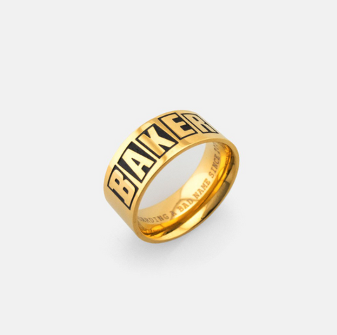 Baker Brand Logo Ring Gold (size options listed)