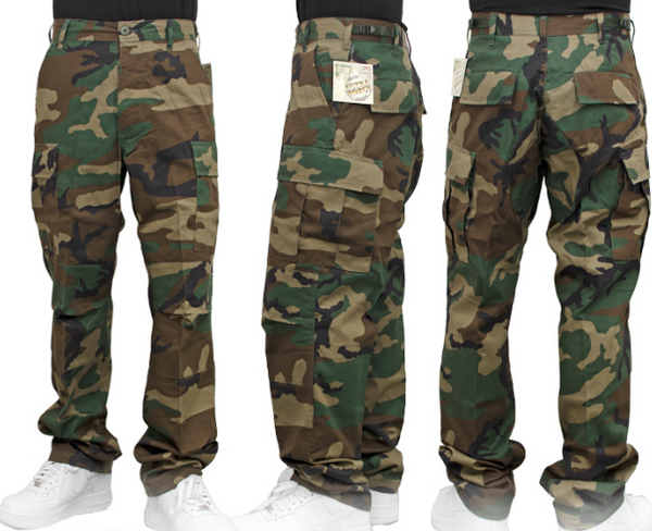 Flowers BDU Cargo Pants Woodland Camo (size options listed)