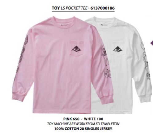 Toy L/S Pocket Tee (size and color options listed)