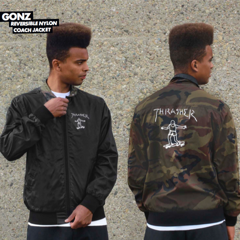 Gonz Reversible Coach Jacket Blk/Camo (size options listed)