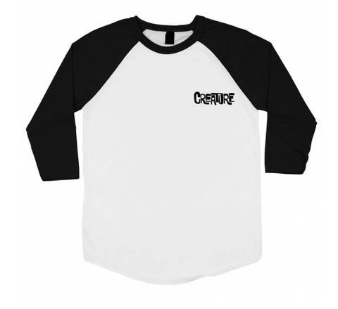 Frank 3/4 Sleeve Raglan Tee Shirt Wht/Blk (size options listed)