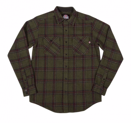 Chainsaw L/S Button Up Top Shirt Olv/Plaid (size options listed)