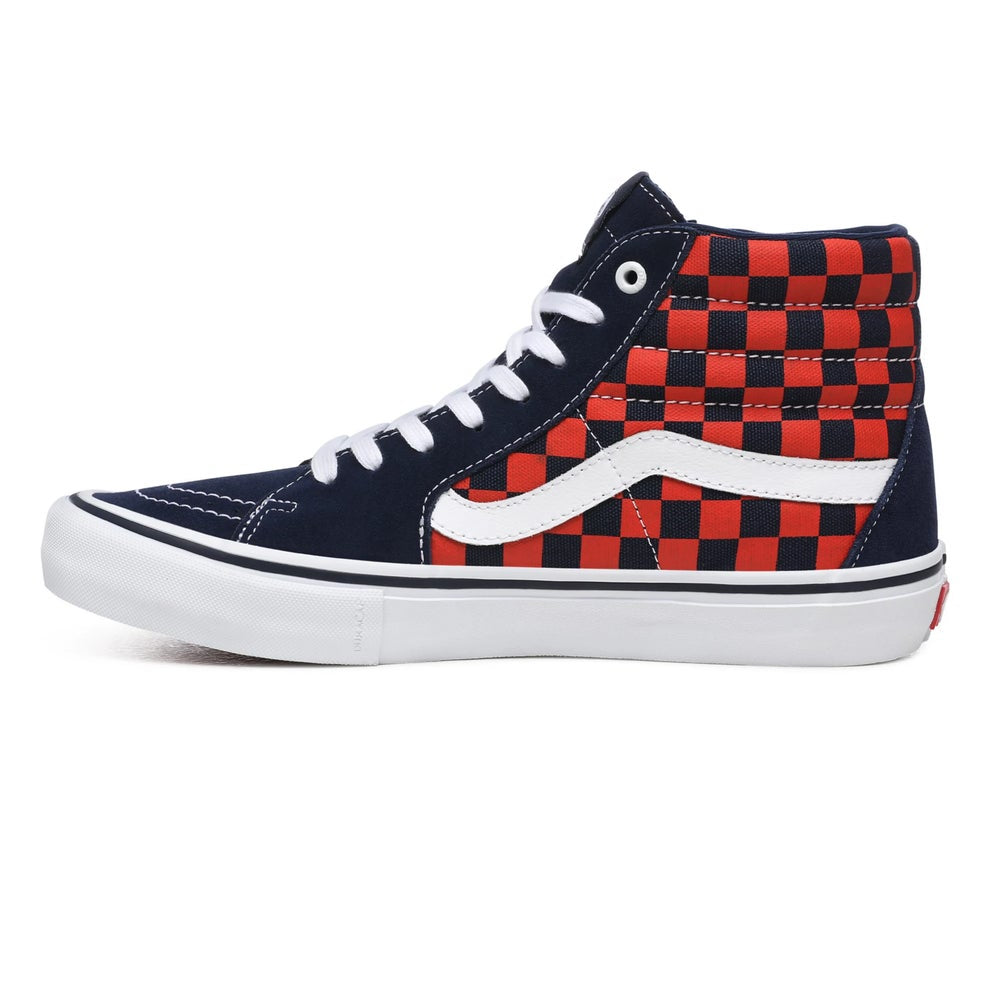 Checkerboard Sk8-Hi Pro Shoe Nvy/Org (size options listed)