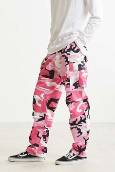 Flowers BDU Camo Cargo Pants Pink (size options listed)