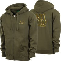 Zip Drop Hero Army/Gold Hoodie (size options listed)
