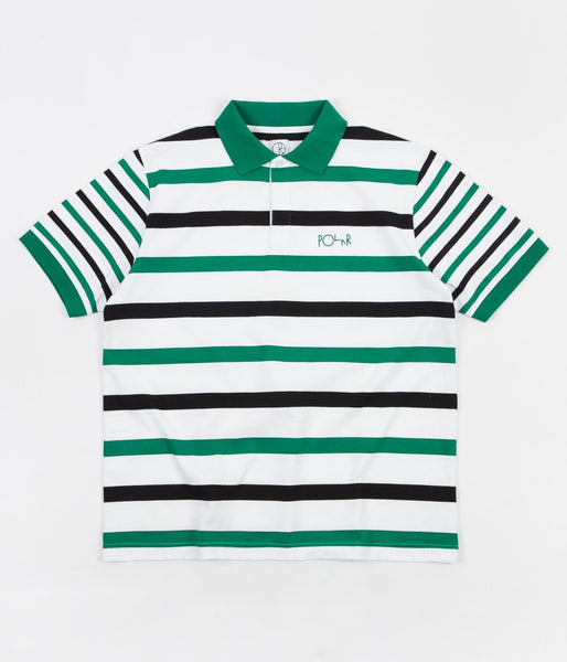 Halls Rugby S/S Shirt Wht/Grn/Blk (size options listed)