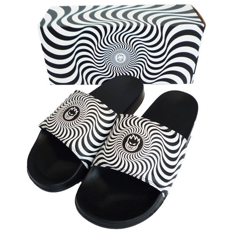 Classic Swirl Slide Sandals Blk/Wht (size options listed)