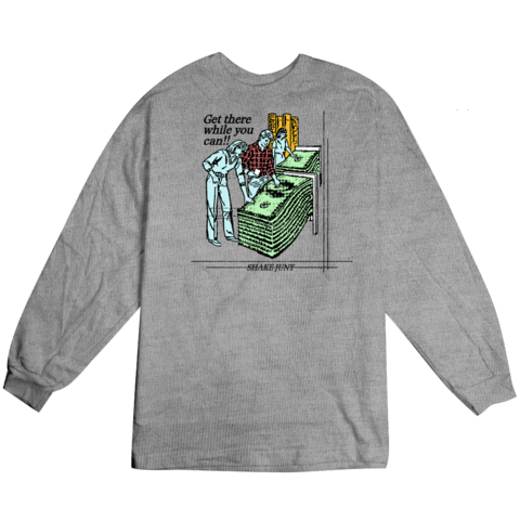 Get Money L/S Tee Shirt Grey (size options listed)