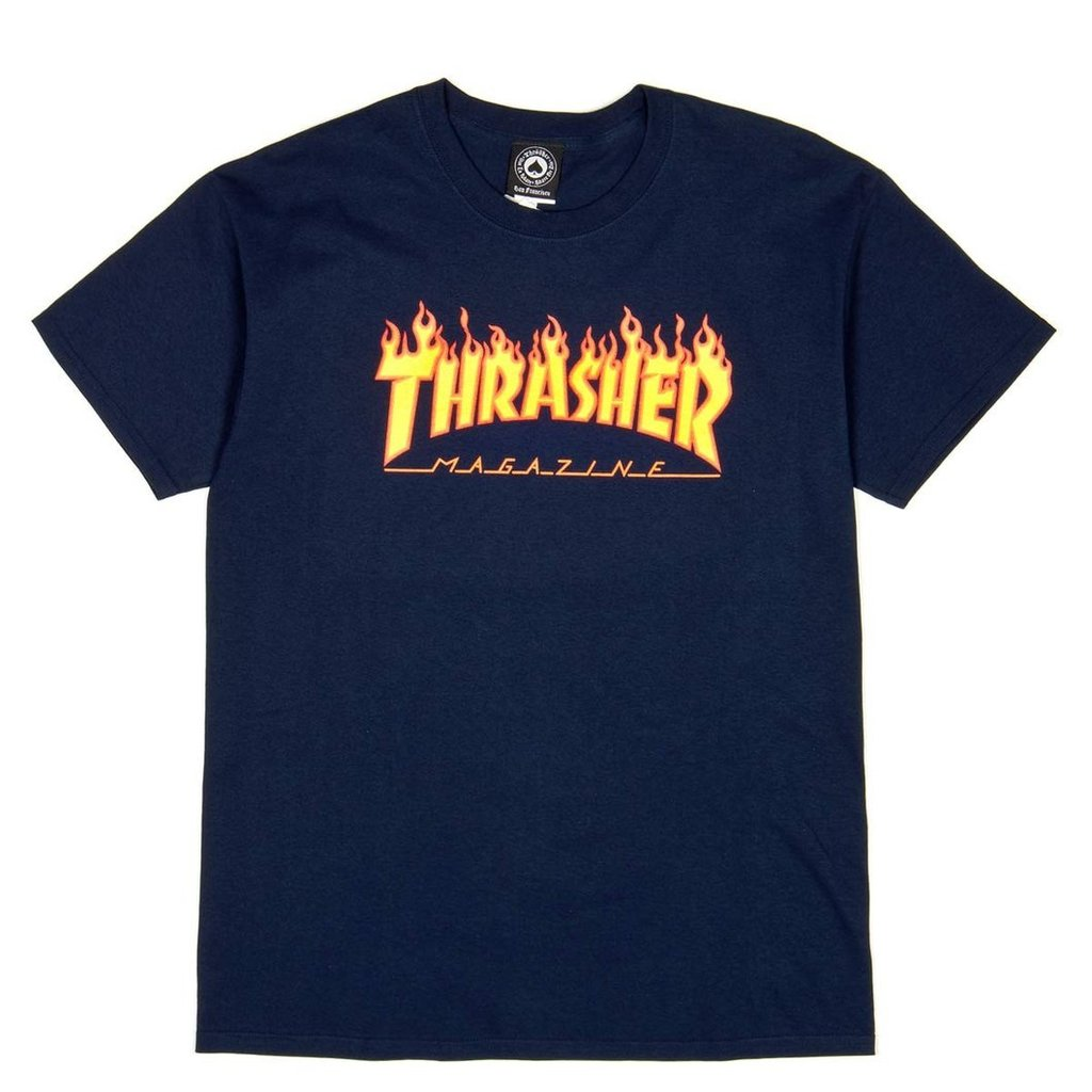 Flame S/S Tee Shirt Navy (size options listed)