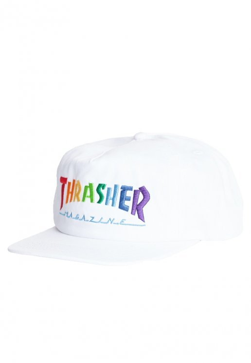 Rainbow Mag Logo Adjustable Snapback Hat Wht OS