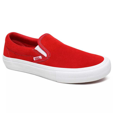 Slip On Pro Shoe Red/White Full Suede (size options listed)