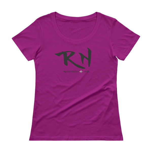 Ladies-Resuscitation-Ninja-Scoopneck-T-Shirt-Nurse-rasberry