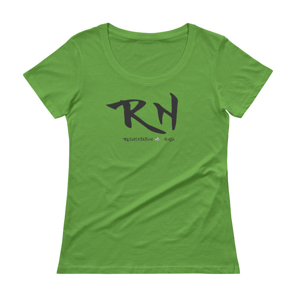 Ladies-Resuscitation-Ninja-Scoopneck-T-Shirt-Nurse-lime