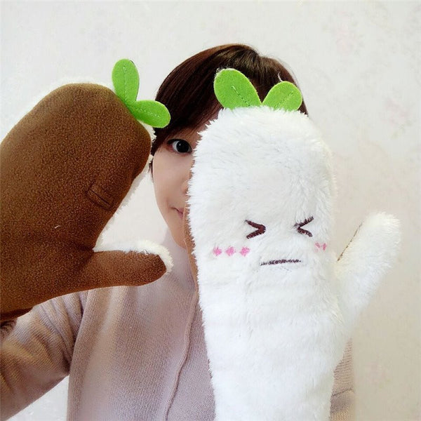 Gloves - Daikon Character Plush Gloves