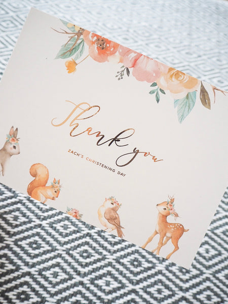 Floral Woodland Thank You Cards