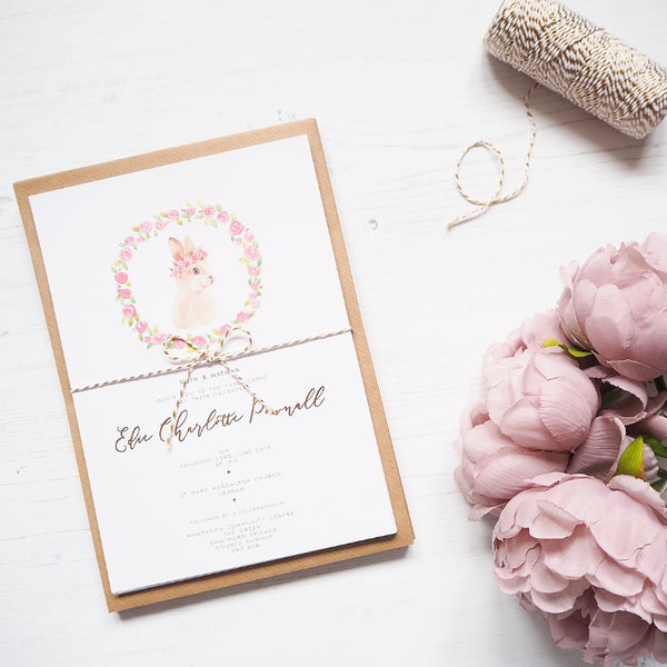 Floral Bunny Invitations