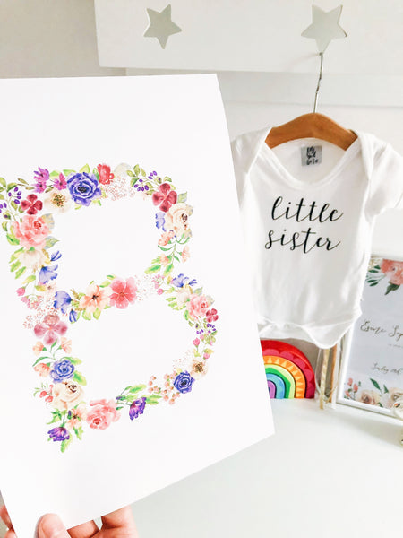 Floral Alphabet Watercolour Print