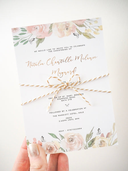 Rose & Butterfly Invitations