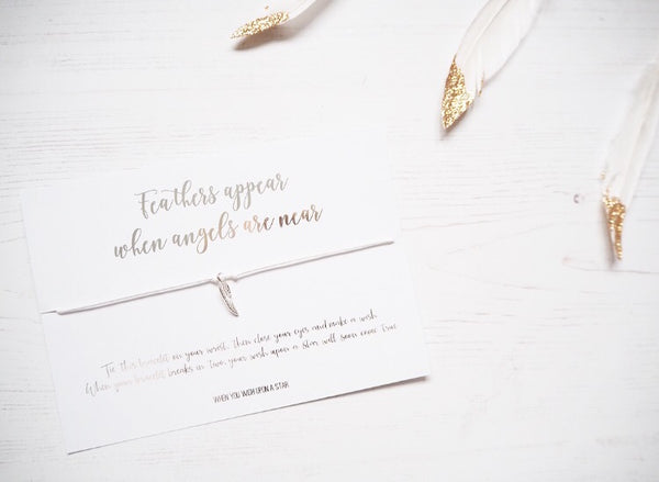'Feathers Appear When Angels Are Near' Wish Bracelet