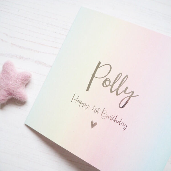 Pastel Rainbow Personalised Foil Card