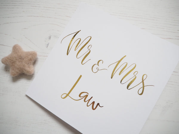 Personalised Mr & Mrs Foil Card