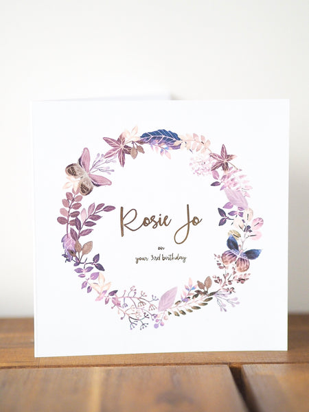 Butterfly Floral Wreath Personalised Card