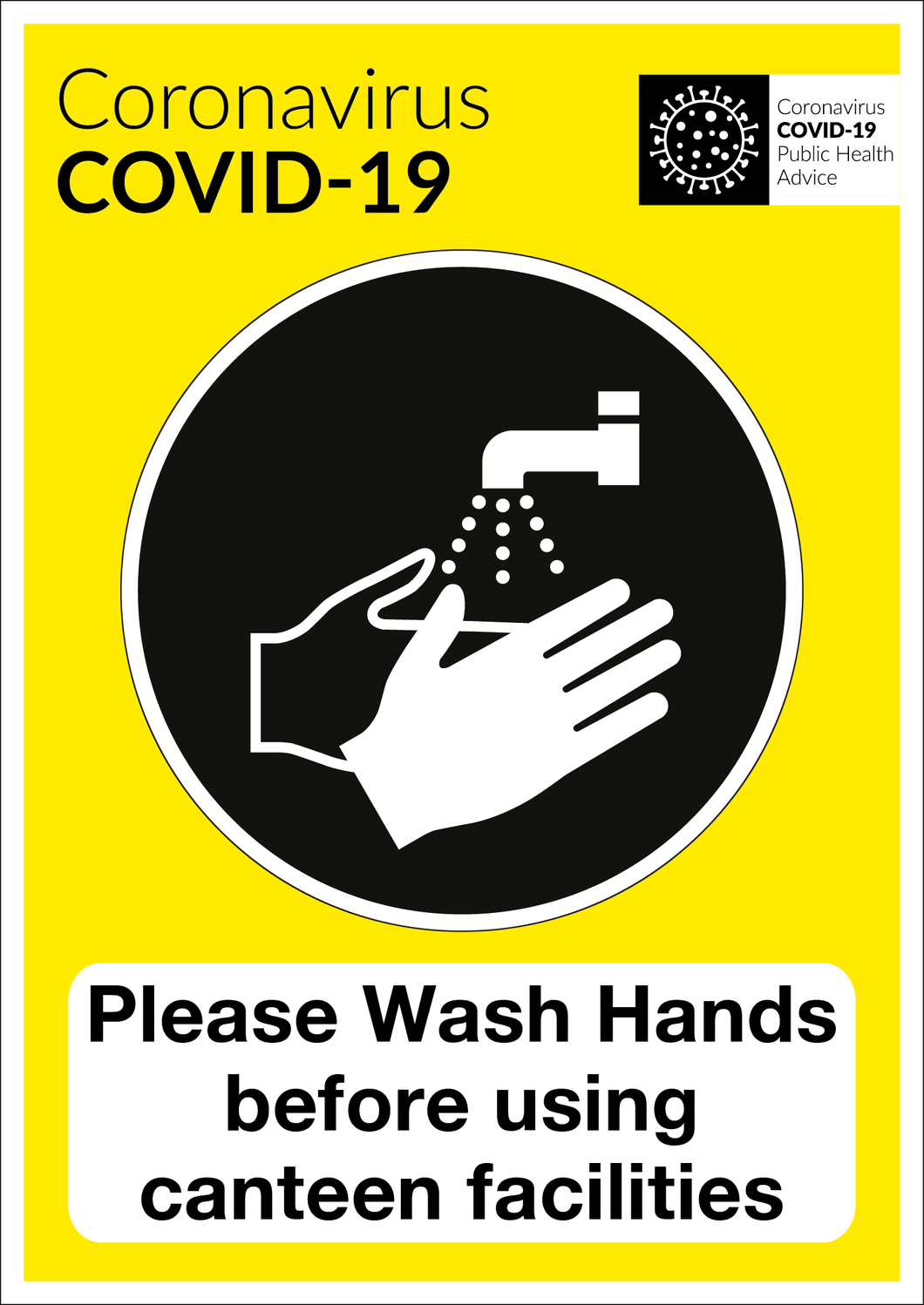 COVID-19 Wash Hands Canteen Facilities Sign | Code 030