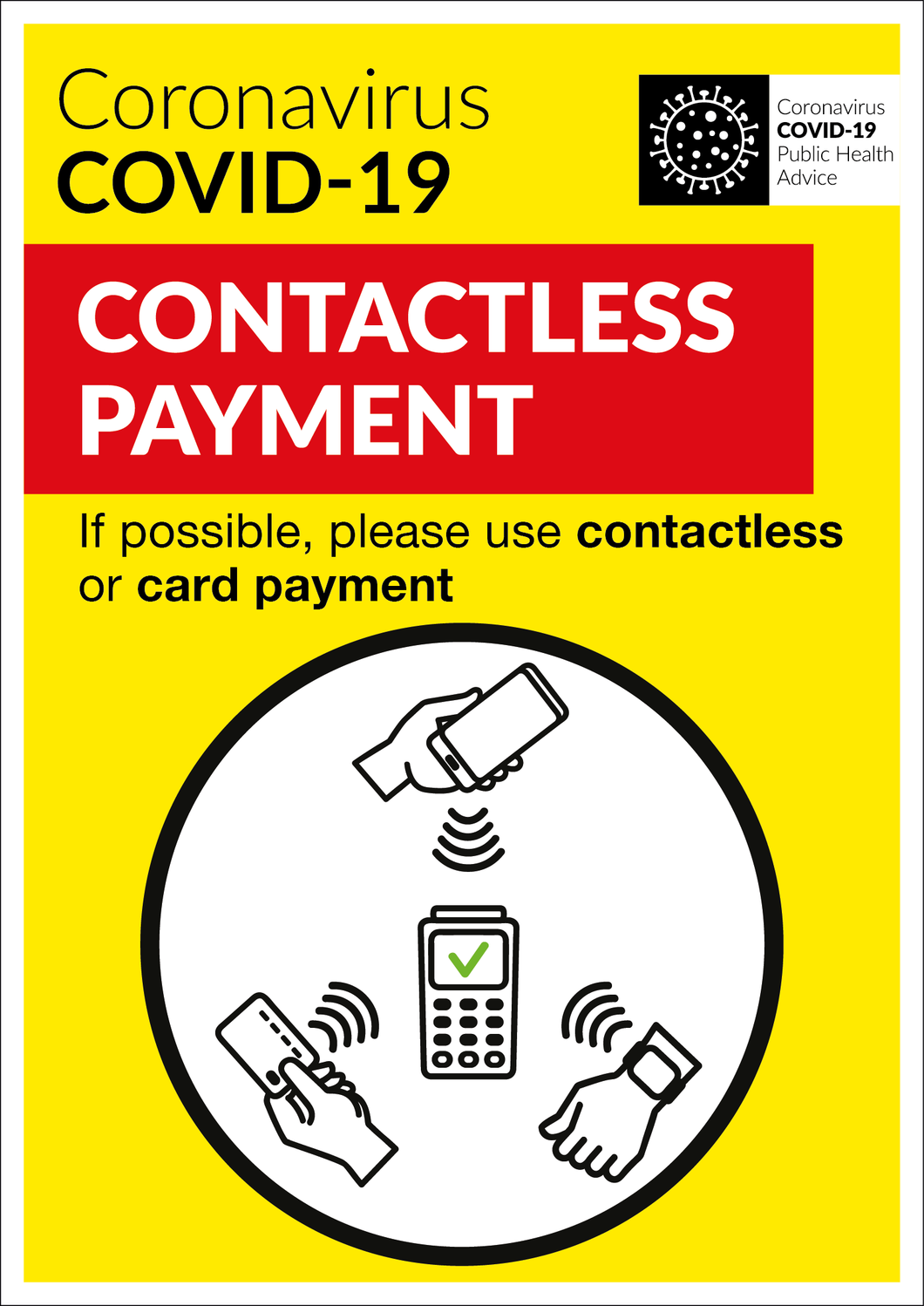 COVID-19 Contactless Payment Sign | Code 040