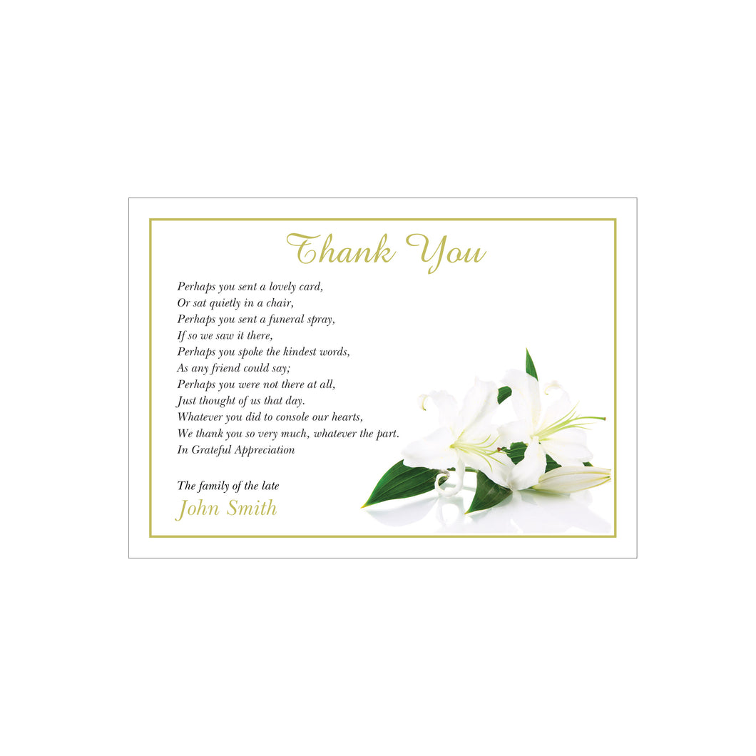 Memorial acknowledgementthank you cards with customised design memorial acknowledgementthank you cards with customised design izmirmasajfo Choice Image