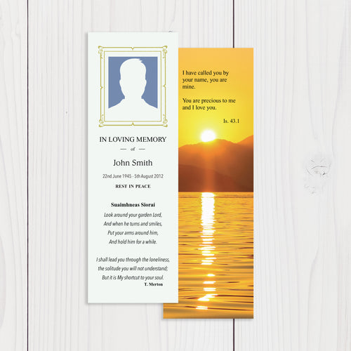 Memorial Bookmarks with Customised Design