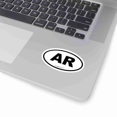 Arkansas AR Euro Oval Sticker BLACK