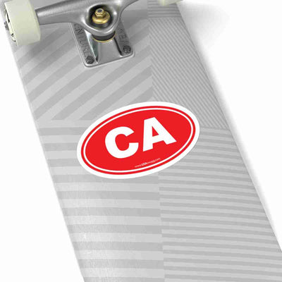 California CA Euro Oval Sticker RED SOLID
